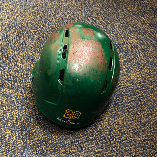 Photo of Mark Canha Game-Used Kelly Green A.L. Wild Card Game & Regular Season Helmet