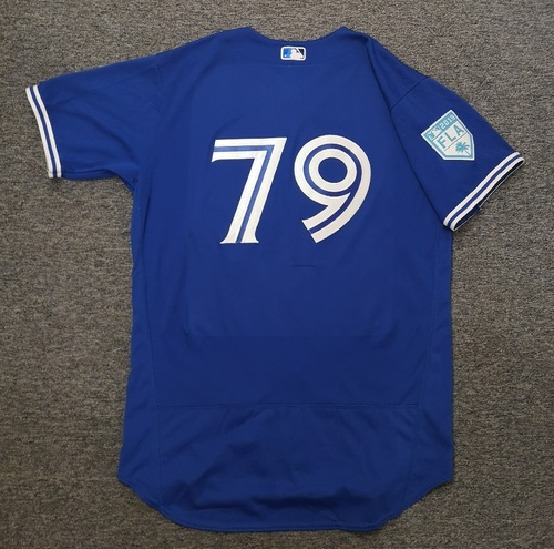 Photo of Authenticated Game Used 2019 Spring Training Jersey - #79 Corey Copping (Mar 17. Mar 26). Size 48