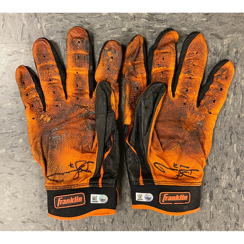 Photo of 2019 Holiday Sale - 2019 Autographed Batting Gloves signed by #7 Donovan Solano - Black & Orange Franklin Batting Gloves  Franklin Batting Gloves