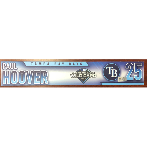 Photo of Game Used Wild Card Locker Tag: Paul Hoover - October 2, 2019 at OAK