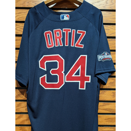 Photo of David Ortiz #34 Team Issued Navy Road Alternate Jersey