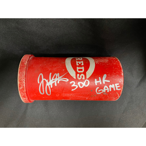Photo of Joey Votto *Game-Used, Autographed & Inscribed* On-Deck Circle Bat Weight -- Used By Joey Votto During 300th Career Home Run Game -- CHC vs. CIN on 04/30/2021