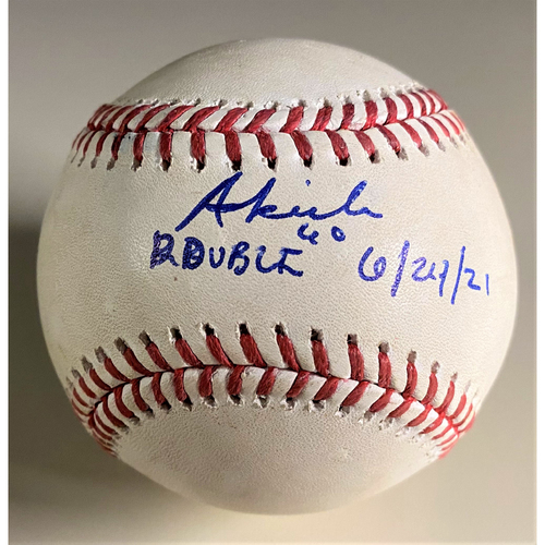 """Photo of Baddoo Exclusive! Autographed Game-Used Baseball:  Akil Baddoo Double (6/24/21) Autographed with Inscription """"Double 6/24/21"""" (MLB AUTHENTICATED)"""