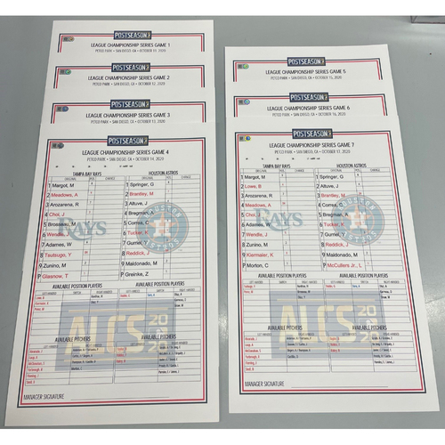 Photo of Replica ALCS Lineup Card Package: Game #1-#7 - Games Played in San Diego - October 11-17, 2020 v HOU