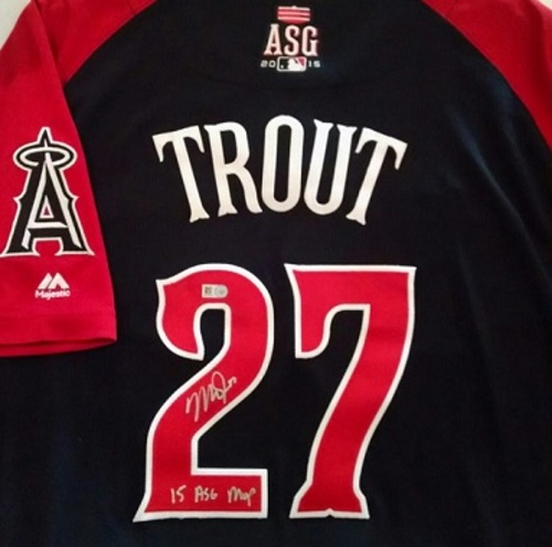 "Photo of Mike Trout Autographed ""15 ASG MVP"" 2015 All-Star Game Jersey"