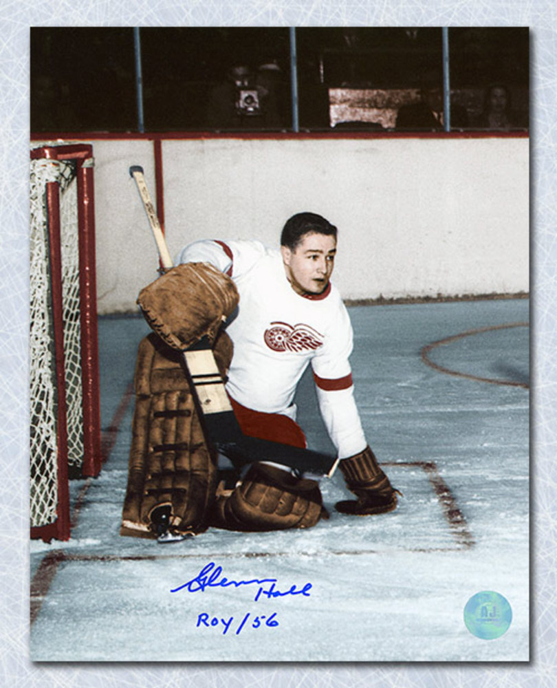Glenn Hall Detroit Red Wings Autographed Rookie 8x10 Photo w ROY 56 Note