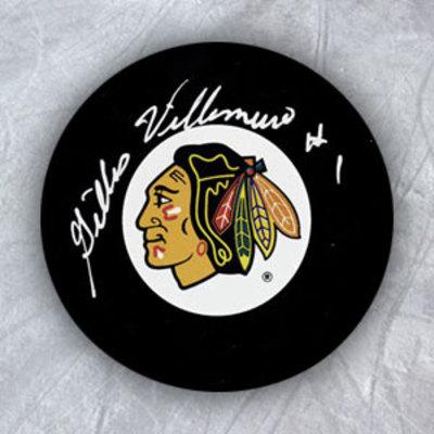 GILLES VILLEMURE Chicago Blackhawks Autographed Hockey Puck