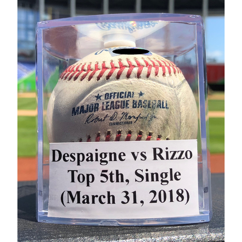 Photo of Game-Used Baseball: Odrisamer Despaigne vs Anthony Rizzo, Top 5th, 3 Run Single (Marlins vs Cubs - 3/31/18)