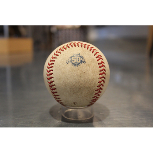 Photo of Game-Used Baseball: Ian Kinsler 1829th Career Hit & Mike Trout at bat (LAA at KC - 4/13/18)