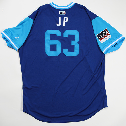 "Photo of Jason ""JP"" Phillips Toronto Blue Jays Team Issued Jersey 2018 Players' Weekend Jersey"