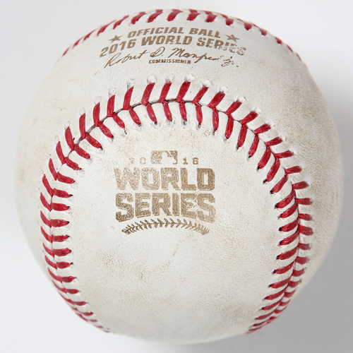 Photo of Game-Used Baseball: 2016 World Series Game 1 - Chicago Cubs at Cleveland Indians - Batter: Jose Ramirez, Pitcher: Jon Lester - Bottom of 6, Double to RF