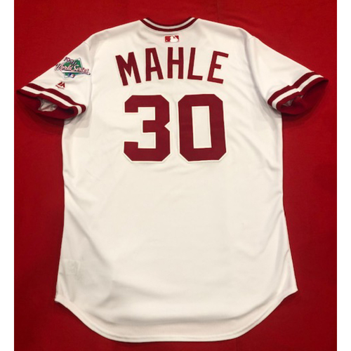 Photo of Tyler Mahle -- Team Issued 1990 Throwback Jersey -- Cardinals vs. Reds on Aug. 18, 2019 -- Jersey Size 46