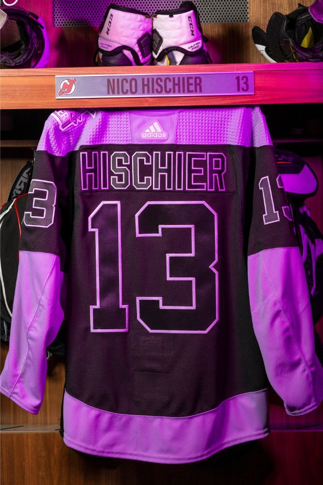 Nico Hischier Hockey Fights Cancer Autographed Black and Lavender Warm-Up Jersey - New Jersey Devils