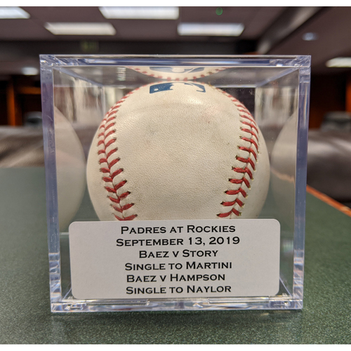 Photo of Colorado Rockies Game-Used Baseball - Pitcher: Michel Baez, Batter: Trevor Story (Single to Nick Martini) - September 13, 2019 vs San Diego Padres