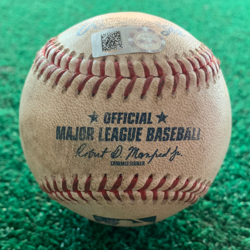 Photo of 2019 Game-Used Baseball  7/19/19 Astros vs. Rangers: Josh James to Rougned Odor (Strikeout) to Asdrubal Cabrera (Single to CF) - Top 8th