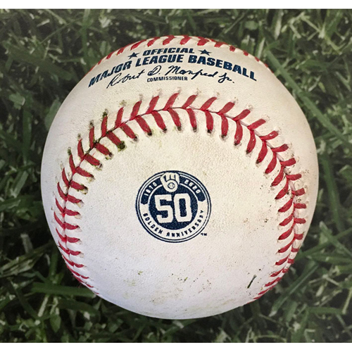 Photo of Game-Used Baseball CIN@MIL 08/25/20 - Brandon Woodruff - Nick Castellanos: Forceout at Home