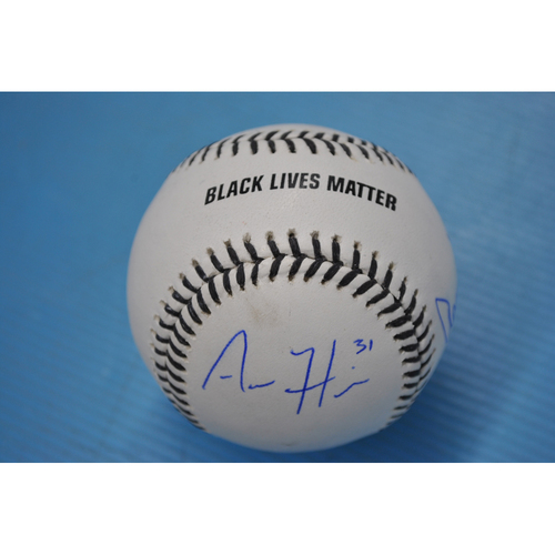 Photo of 2020 MLB Black Lives Matter Commemorative Ball - Autographed by Aaron Hicks, Aaron Judge, and Giancarlo Stanton