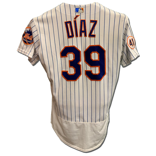 Photo of Edwin Diaz #39 - Game Used White Pinstripe Jersey - Diaz 1 IP, 2 K's, Earns 29th Save - Mets vs. Yankees - 9/12/21