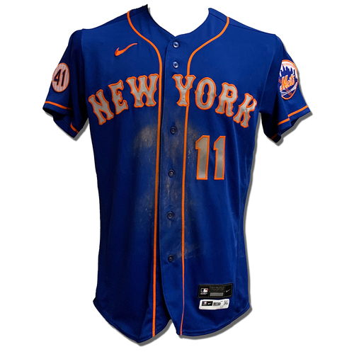 Photo of Kevin Pillar #11 - Game Used Blue Alt. Road Jersey with Seaver Patch - 2-4, HR (14) - Mets vs. Nationals - 9/5/21