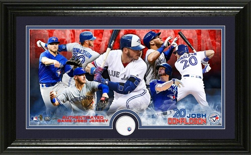 Photo of Blue Jays Authentics - Framed Donaldson Photo with Game Used Jersey Swatch (12x20)