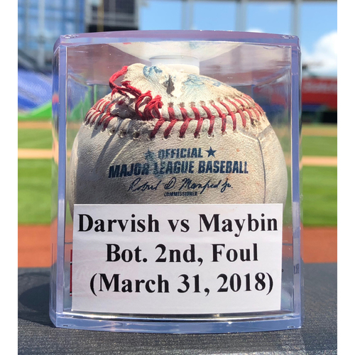 Photo of Game-Used Baseball: Yu Darvish vs Cameron Maybin, Bot. 2nd, Foul (Marlins vs Cubs - 3/31/18)