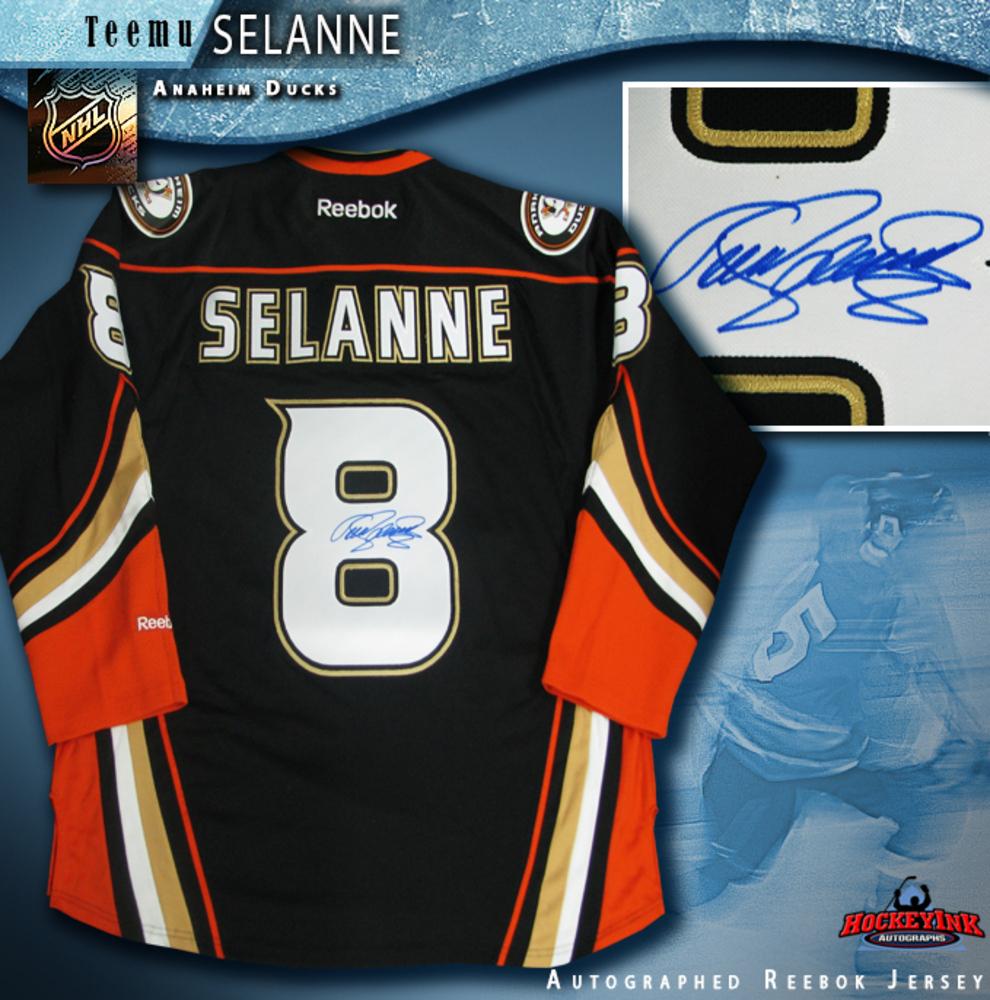 TEEMU SELANNE Signed Alternate Black Anaheim Ducks Reebok Jersey