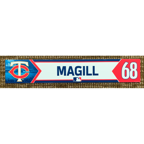 Photo of 2018 Game-Used Matt Magill Minnesota Twins Lockertag