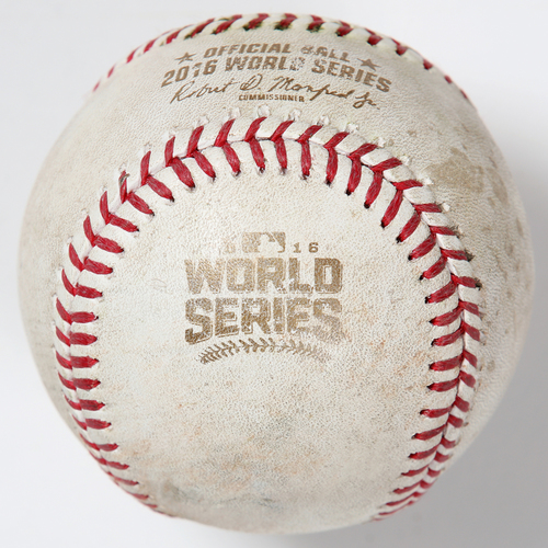 Photo of Game-Used Baseball: 2016 World Series Game 4 - Cleveland Indians at Chicago Cubs - Batter: Jason Heyward, Pitcher: Corey Kluber - Bottom of 2, Single