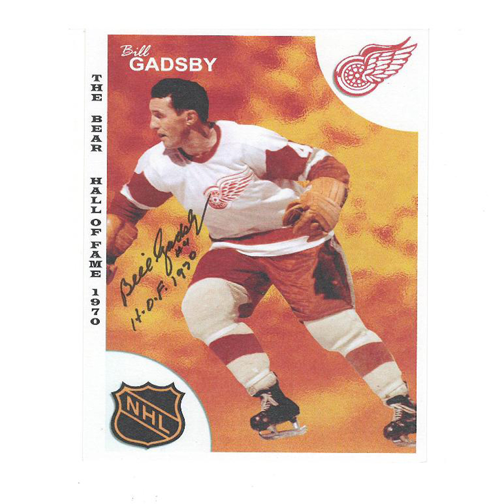 BILL GADSBY Signed Detroit Red Wings Hall of Fame 1970 Card with H.O.F. Inscription