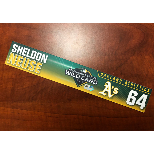 Photo of Sheldon Neuse Game-Used 2019 A.L. Wild Card Locker Nameplate