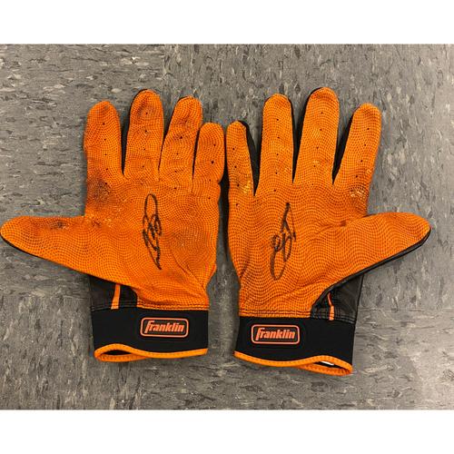 Photo of 2019 Holiday Sale - 2019 Autographed Batting Gloves signed by #53 Austin Slater - Black & Orange Franklin Batting Gloves