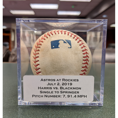 Photo of Colorado Rockies Game-Used Baseball - Pitcher: Will Harris, Batter: Charlie Blackmon (Single to George Springer) - July 2, 2019 vs Houston Astros