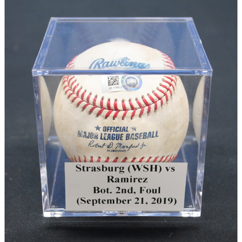Photo of Game-Used Baseball: Stephen Strasburg (WSH) vs Harold Ramirez, Bot. 2nd, Foul - September 21, 2019