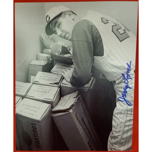 Photo of Jerry Lynch Autographed Photo (Leaning over Bats)