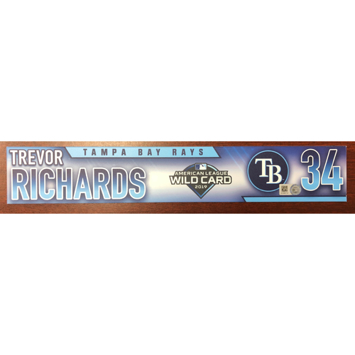 Photo of Game Used Wild Card Locker Tag: Trevor Richards - October 2, 2019 at OAK