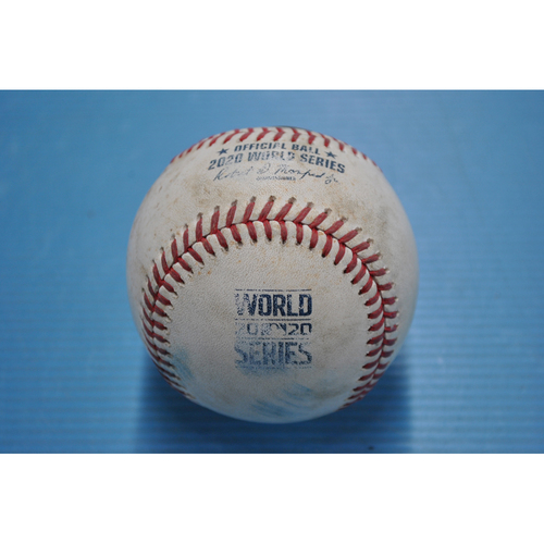 Photo of Game-Used Baseball - 2020 World Series - Tampa Bay Rays vs. Los Angeles Dodgers - Game 1 - Pitcher: Tyler Glasnow, Batters: Max Muncy (Walk), Will Smith (Groundout to 3B) - Bot 4