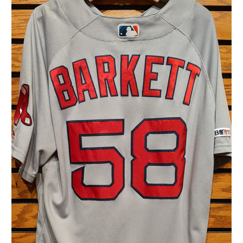 Photo of Coach Andy Barkett #58 Team Issued Gray Road Jersey