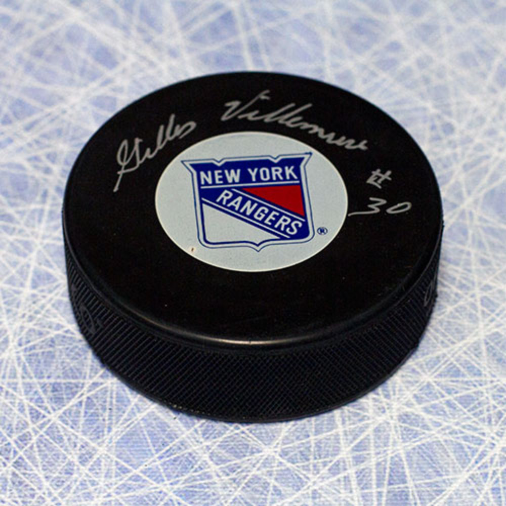 Gilles Villemure New York Rangers Autographed Hockey Puck