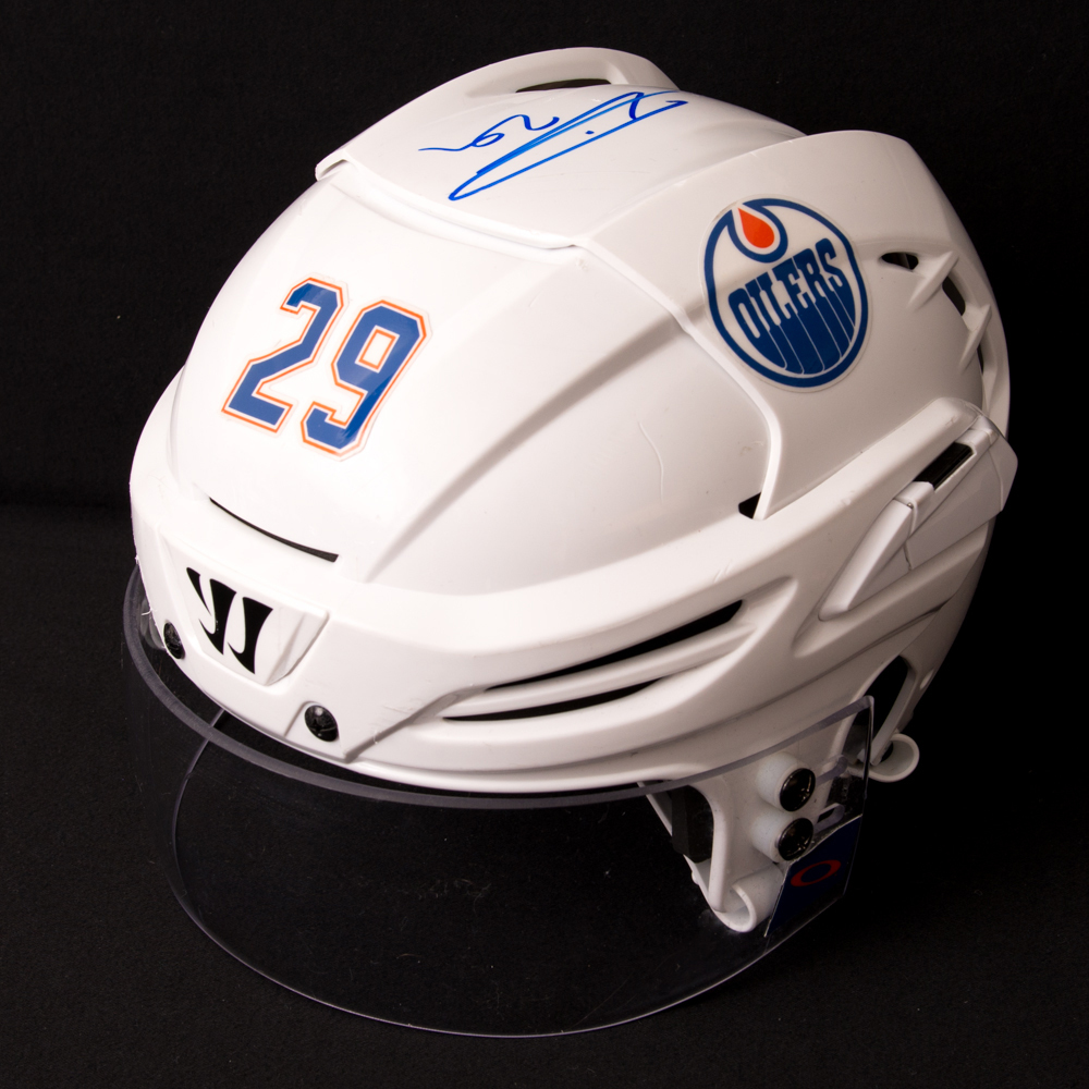 Leon Draisaitl #29 - Autographed 2016-17 Edmonton Oilers Game-Worn White Warrior Helmet (2nd Half Of Season Including Play-offs)