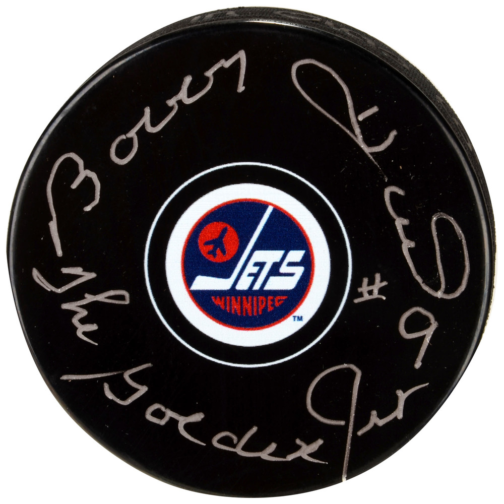 Bobby Hull Winnipeg Jets Autographed Hockey Puck with The Golden Jet Inscription