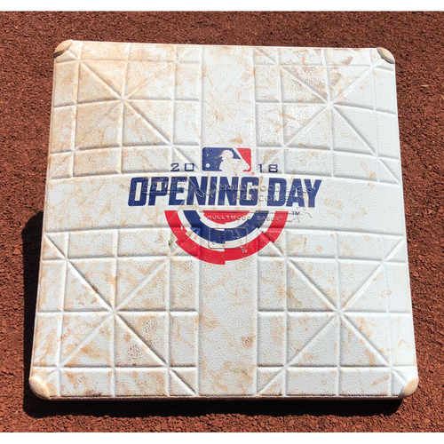 Photo of Game-Used Base: Miami Marlins vs Chicago Cubs  *Opening Day* (March 29, 2018 - 1st Base 7th-9th innings)
