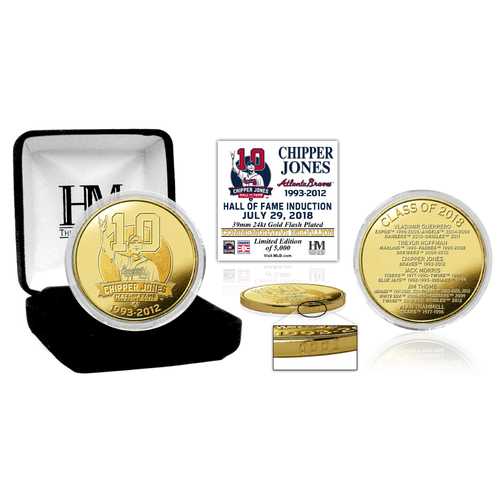 Photo of Serial #1! Chipper Jones 2018 National Baseball Hall of Fame Induction Gold Mint Coin