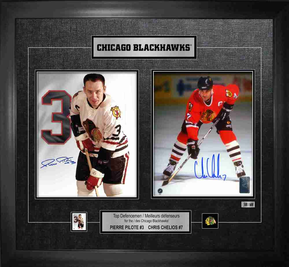Pierre Pilote & Chris Chelios Dual Signed Defencemen Canada Post Collage Blackhawks L/E 6