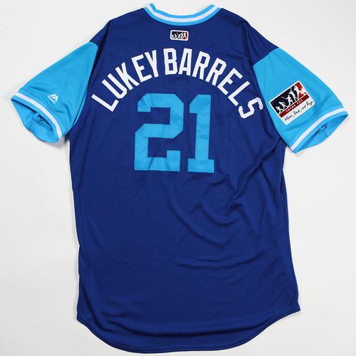 "Photo of Luke ""Lukey Barrels"" Maile Toronto Blue Jays Game-Used Jersey 2018 Players' Weekend Jersey"