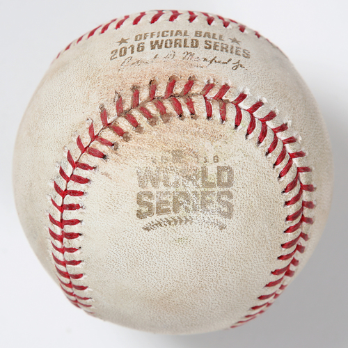 Photo of Game-Used Baseball: 2016 World Series Game 7 - Chicago Cubs at Cleveland Indians - Batter: Jose Ramirez, Pitcher: Kyle Hendricks - Bottom of 4, Pitch in the Dirt