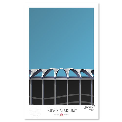 Photo of Busch Stadium- Collector's Edition Minimalist Art Print by S. Preston #119/350  - St. Louis Cardinals