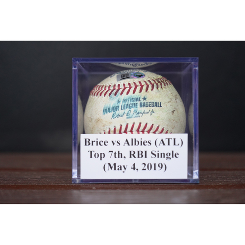 Photo of Game-Used Baseball: Ozzie Albies  - RBI Single (May 4, 2019) *3rd Career Grand Slam Game*