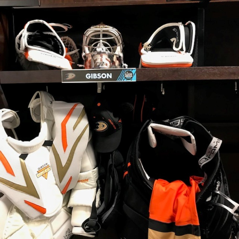 John Gibosn Locker Room Nameplate from 2019 Player Media Tour - Anaheim Ducks