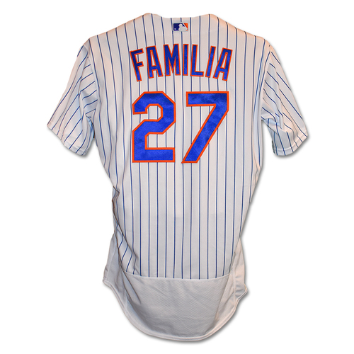 Jeurys Familia #27 - Pete Alonso Sets Single-Season Rookie HR Record - Game-Used White Pinstripe Jersey - 1 IP, 0 ER, 2 K's - Mets vs. Braves - 9/28/19