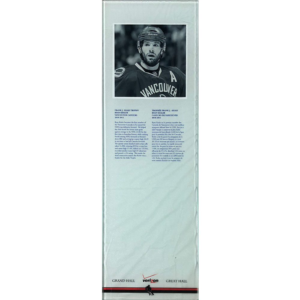 Ryan Kesler 2010-11 Selke Trophy Plexiglass Plaque - Once on Display in the HOF's Great Hall